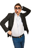 Funny business man with mask Stock Photography