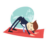 Funny business man wearing suit doing yoga meditating downward Stock Photography