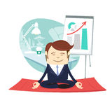 Funny business man wearing suit doing yoga meditating pose lotus. Vector illustration Funny business man wearing suit doing yoga meditating pose lotus in front Royalty Free Stock Images