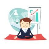 Funny business man wearing suit doing yoga meditating pose lotus Royalty Free Stock Images