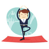 Funny business man wearing suit doing yoga meditating pose tree Royalty Free Stock Photo