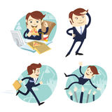 Funny business man wearing suit eating pizza, looking forward, running and being trew in the ar by his collegues at his office wor. Vector illustration Funny Royalty Free Stock Photo