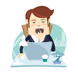 Funny business man yawning at his workplace. Flat style Stock Image