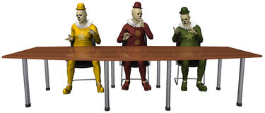 Funny Business Meeting Clowns Isolated. Funny abstract concept illustration of three clowns having a business meeting at the office. Each clown has his own idea Royalty Free Stock Photos