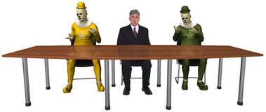 Funny Business Meeting Clowns Isolated Stock Photos