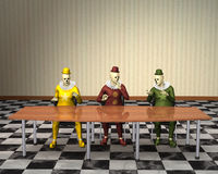 Funny Business Meeting Sales Marketing Clowns. Funny abstract concept illustration of three clowns having a business meeting at the office. Each clown has his Stock Image