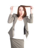 Funny business woman showing tongue isolated Royalty Free Stock Photo