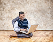 Funny business yoga Stock Photo