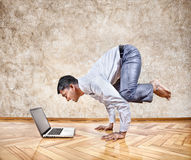 Funny business yoga Royalty Free Stock Photography