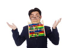 Funny businessman with abacus isolated on  white Royalty Free Stock Photography