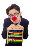 Funny businessman with abacus isolated on  white Royalty Free Stock Photos