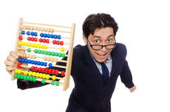Funny businessman with abacus isolated on the Royalty Free Stock Photography