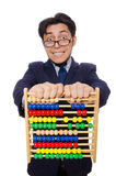 Funny businessman with abacus isolated on the Royalty Free Stock Photo