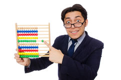 Funny businessman. The funny businessman with abacus isolated on the white Royalty Free Stock Photography