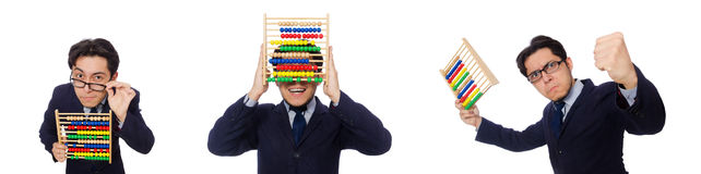 The funny businessman with abacus isolated on the white Royalty Free Stock Photography