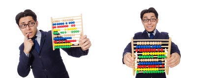 The funny businessman with abacus isolated on the white Royalty Free Stock Photos