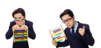 The funny businessman with abacus isolated on the white Royalty Free Stock Image