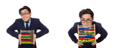 The funny businessman with abacus isolated on the white Stock Photo