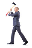 Funny businessman with axe. On white Stock Photos