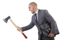 Funny businessman with axe Stock Photos