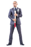 Funny businessman with axe Royalty Free Stock Photo