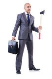 Funny businessman with axe Stock Images