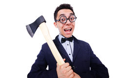 Funny businessman with axe Royalty Free Stock Image