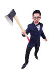 Funny businessman with axe Stock Image