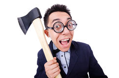 Funny businessman with axe Royalty Free Stock Images