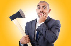 Funny businessman with axe Stock Photography