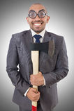Funny businessman with axe Stock Photos