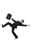 Funny businessman being blown Royalty Free Stock Photo