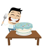 Funny businessman with big cake and fork Stock Photography