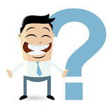 Funny businessman with big question mark Royalty Free Stock Photography