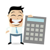 Funny businessman with calculator Stock Images