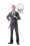 The funny businessman with catching net on white Royalty Free Stock Images