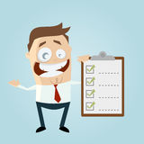 Funny businessman with checklist. Illustration of a funny businessman with checklist Stock Image