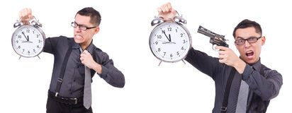 The funny businessman with clock and gun Stock Images