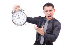 Funny businessman with clock Royalty Free Stock Images
