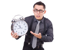 Funny businessman with clock Stock Image