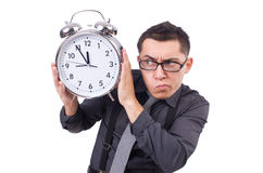 Funny businessman with clock Stock Photography