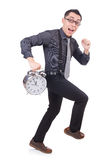 Funny businessman with clock Stock Images
