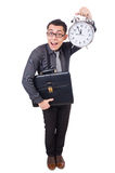 Funny businessman with clock Stock Photo