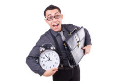 Funny businessman with clock Royalty Free Stock Photo