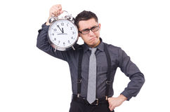 Funny businessman with clock Royalty Free Stock Photos