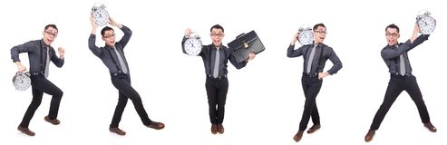 The funny businessman with clock isolated on white Stock Image