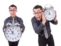 The funny businessman with clock isolated on white Royalty Free Stock Image