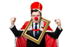Funny businessman. With clown nose Royalty Free Stock Image