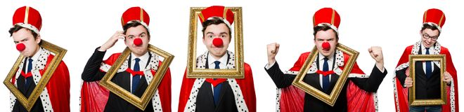 The funny businessman with clown nose Stock Image