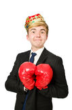 Funny businessman with crown Stock Images